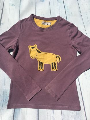 Joules aubergine grey long sleeved top with yellow applique horse age 7 (fits 6-7)